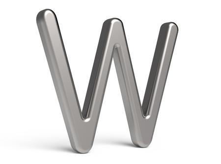 3D übertragen metallisches Alphabet W, dünnes und glattes Design der Schriftart 3D Standard-Bild - 88491693