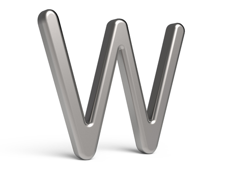 3D render metallic alphabet W, thin and glossy 3D font design