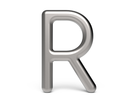 3D render metallic alphabet R, thin and glossy 3D font design 版權商用圖片