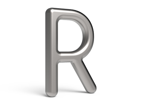3D render metallic alphabet R, thin and glossy 3D font design Banco de Imagens