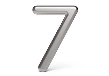 3D render metallic number 7, thin and glossy 3D figure design