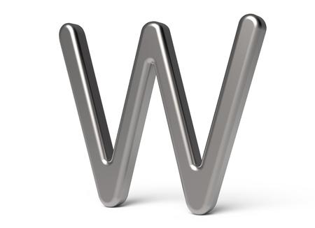 3D übertragen metallisches Alphabet W, dünnes und glattes Design der Schriftart 3D Standard-Bild - 88491704