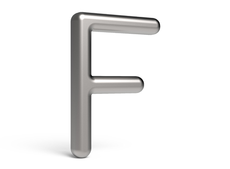 3D render metallic alphabet F, thin and glossy 3D font design