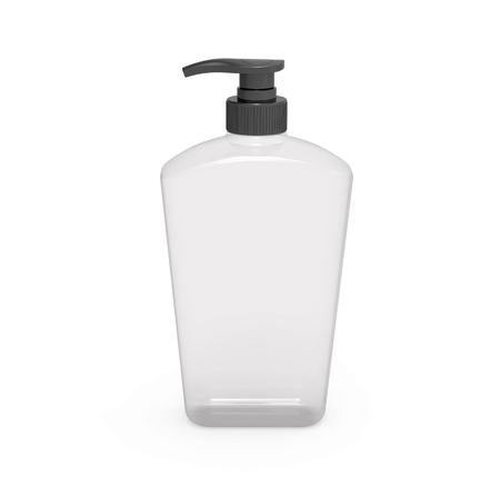 Pump dispenser bottle mockup, blank transparent plastic bottle in 3d rendering