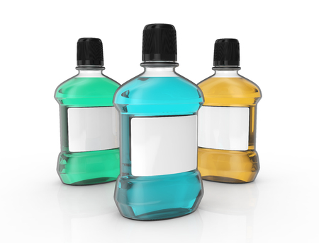 Mouthwash set template, blank hygiene product mockup with white label for design uses in 3d rendering Stock Photo