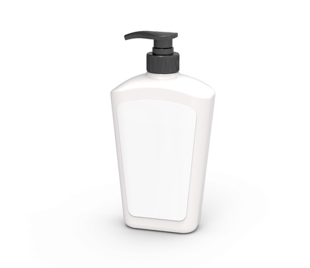 Pump dispenser bottle mockup, blank white plastic bottle with label and black lid in 3d rendering