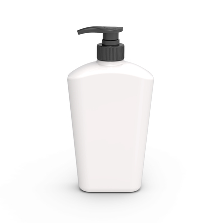 Pump dispenser bottle mockup, blank white plastic bottle with black lid in 3d rendering