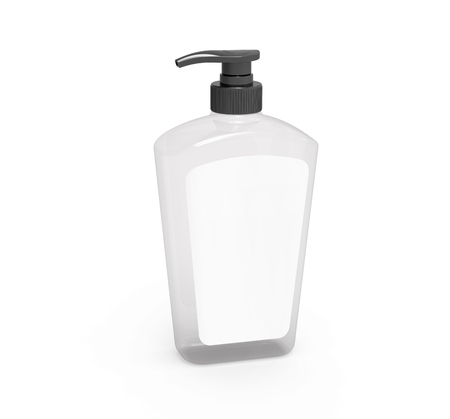 Pump dispenser bottle mockup, blank transparent plastic bottle with label in 3d rendering