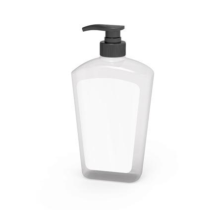 펌프 디스펜서 병 모형, 3d 렌더링에서 레이블이있는 빈 투명 플라스틱 병 스톡 콘텐츠