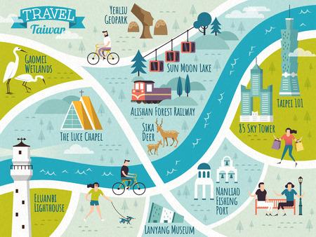 Taiwan travel map. Ilustrace