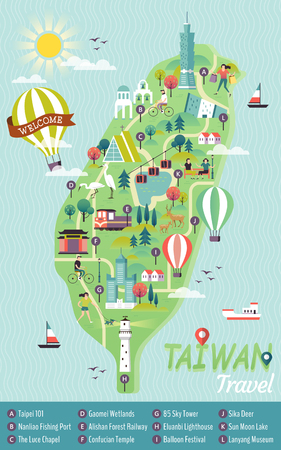 Taiwan travel concept map. Vectores