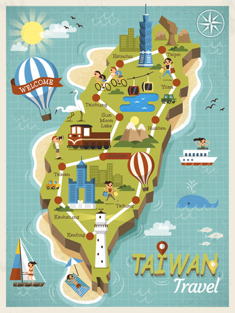 台湾旅行コンセプト マップ。  イラスト・ベクター素材