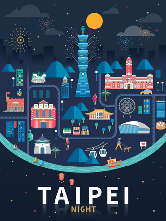 Taipei night flat design.