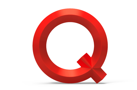 3D render red beveled alphabet Q, retro 3D font design