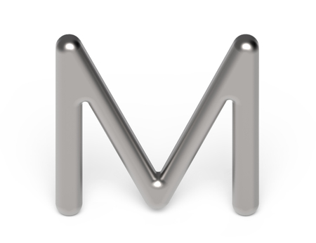 3D render metallic alphabet M, thin and glossy silver 3D font design