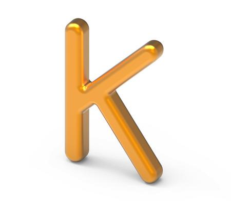 3D render metallic alphabet K, thin and glossy golden 3D font design Stock Photo