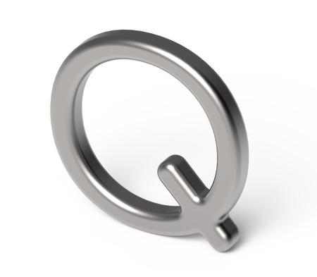 3D render metallic alphabet Q, thin and glossy silver 3D font design