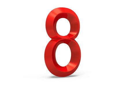 3D render red beveled number 8, retro 3D figure design Stock Photo - 88745512