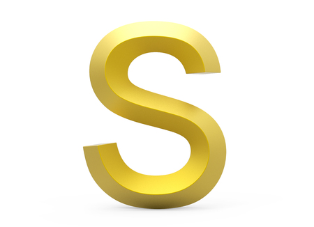3D render golden beveled alphabet S, retro 3D font design Banco de Imagens