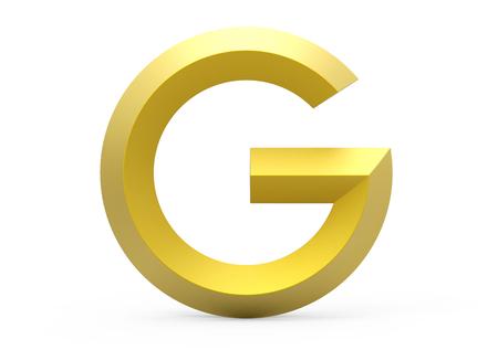 3D render golden beveled alphabet G, retro 3D font design