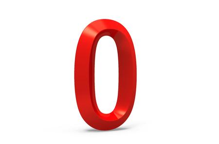 3D render rot abgeschrägte Nummer 0, retro 3D-Figur-Design Standard-Bild - 88745538