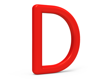 3D render red alphabet D, thin and plastic texture 3D font design Stock Photo