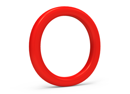 3D render red alphabet O, thin and plastic texture 3D font design