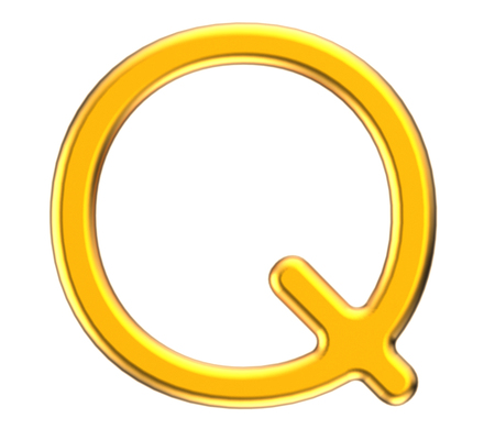 Alphabet métallique de rendu 3D Q, conception de polices 3D or mince et brillant Banque d'images - 88745583
