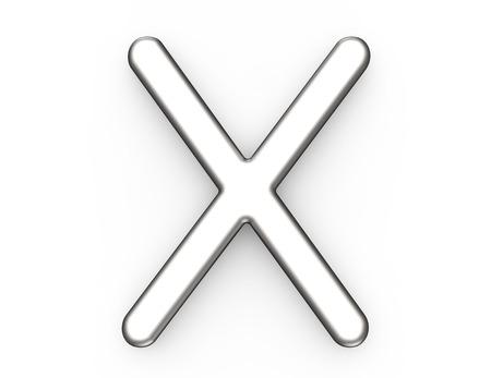 3D render metallic alfabet X, dun en glanzend platina 3D-lettertype ontwerp Stockfoto