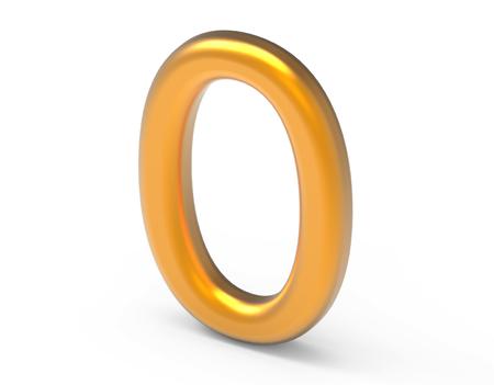 3D render goldene Zahl 0, dünne und plastische Textur 3D-Figur-Design Standard-Bild - 88745594