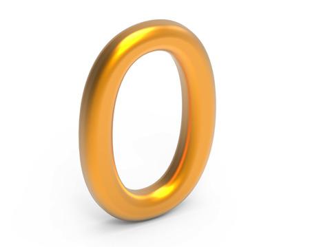 3D render golden number 0, thin and plastic texture 3D figure design Reklamní fotografie