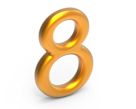 3D render golden number 8, thin and plastic texture 3D figure design Stock Photo