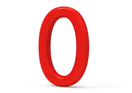 3D render rote Zahl 0, dünn und Kunststoff Textur 3D-Figur-Design Standard-Bild - 88745617