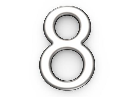 3D render metallic nummer 8, dun en glanzend platina 3D-figuur ontwerp Stockfoto