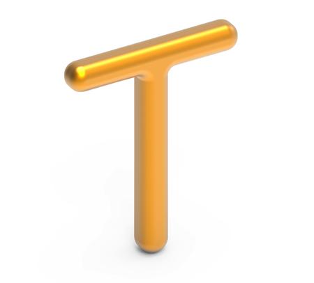 3D rinden el alfabeto metálico T, diseño de fuente de oro 3D fino y brillante Foto de archivo - 88745638