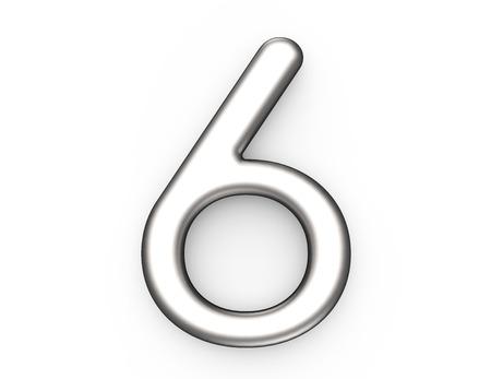 3D render metallic nummer 6, dun en glanzend platina 3D-figuur ontwerp