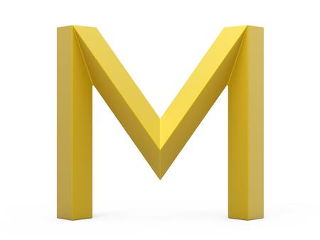 3D render golden beveled alphabet M, retro 3D font design