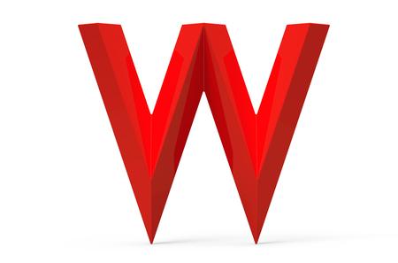 3D render red beveled alphabet W, retro 3D font design
