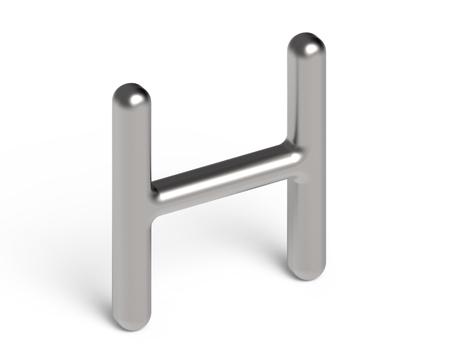 Rendu 3D alphabet métallique H, conception de polices 3D argentée fine et brillante Banque d'images - 88745660