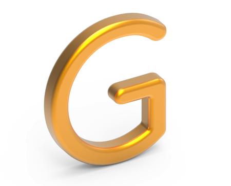 3D render metallic alphabet G, thin and glossy golden 3D font design Фото со стока