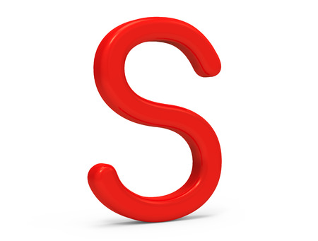 3D render red alphabet S, thin and plastic texture 3D font design