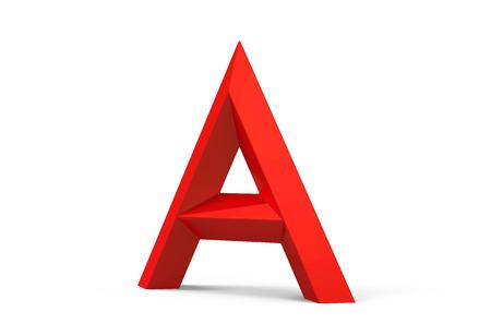 3D render red beveled alphabet A, retro 3D font design Stock Photo