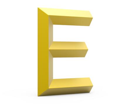 3D render golden beveled alphabet E, retro 3D font design Stock Photo