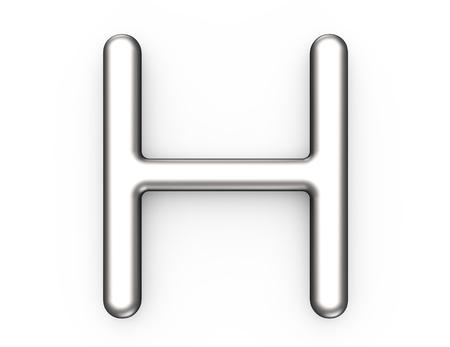 Rendu 3D alphabet métallique H, conception de polices 3D platine mince et brillant Banque d'images - 88745685