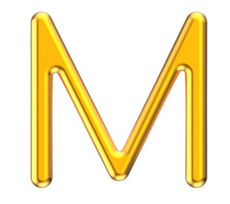 3D rinden el alfabeto metálico M, diseño de fuente de oro 3D fino y brillante Foto de archivo - 88745703