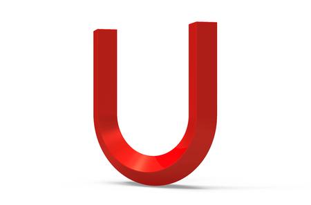 3D render red beveled alphabet U, retro 3D font design Stock Photo