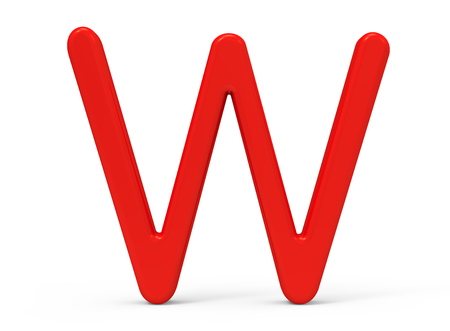3D render red alphabet W, thin and plastic texture 3D font design Reklamní fotografie