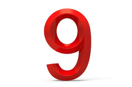 3D render red beveled number 9, retro 3D figure design