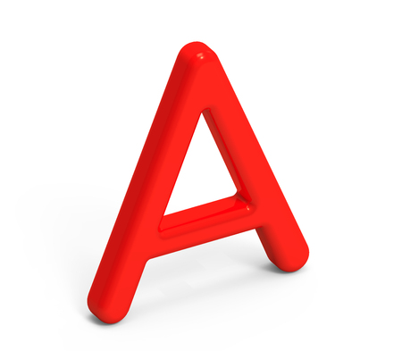 3D render red alphabet A, thin and plastic texture 3D font design