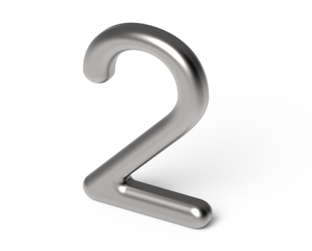 3D render metallic number 2, thin and glossy silver 3D figure design Stock Photo